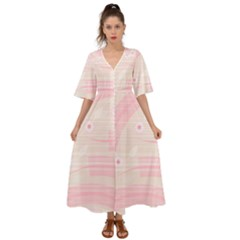 Background Non Seamless Pattern Pink Kimono Sleeve Boho Dress