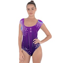 Non Seamless Pattern Background Short Sleeve Leotard