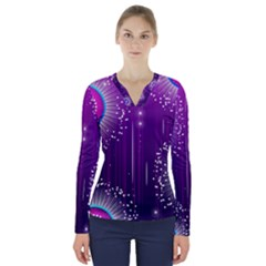 Non Seamless Pattern Background V Neck Long Sleeve Top