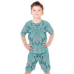 Lotus  Bloom Lagoon Of Soft Warm Clear Peaceful Water Kids  Tee And Shorts Set by pepitasart