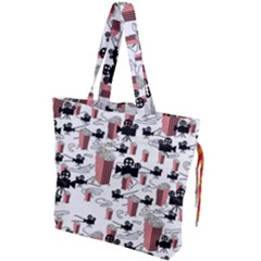 Movies And Popcorn Drawstring Tote Bag