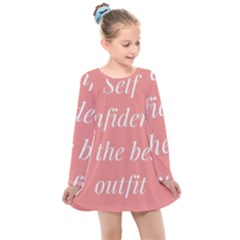 Self Confidence  Kids  Long Sleeve Dress by Abigailbarryart