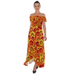 Brilliant Orange And Yellow Daisies Off Shoulder Open Front Chiffon Dress