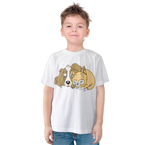 Dog And Kitten Nap Kids  Cotton Tee by retrotoomoderndesigns