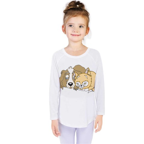 Dog And Kitten Nap Kids  Long Sleeve Tee by retrotoomoderndesigns