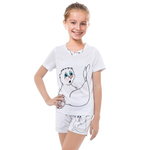 Surprised Seal Kids  Mesh Tee And Shorts Set by retrotoomoderndesigns