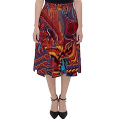 Phoenix Rising Colorful Abstract Art Classic Midi Skirt by CrypticFragmentsDesign