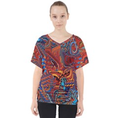 Phoenix Rising Colorful Abstract Art V Neck Dolman Drape Top by CrypticFragmentsDesign