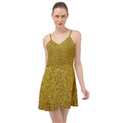 Gold Sparkles Summer Time Chiffon Dress by retrotoomoderndesigns