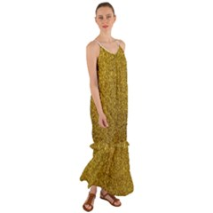 Gold Sparkles Cami Maxi Ruffle Chiffon Dress