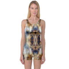 Raising Vibrations Sacred Abstract Art One Piece Boyleg Swimsuit