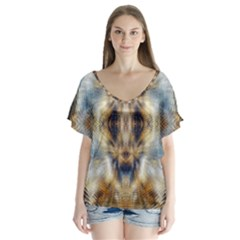 Raising Vibrations Sacred Abstract Art V Neck Flutter Sleeve Top by CrypticFragmentsDesign