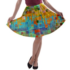 Painted Desert Southwestern Abstract Art A Line Skater Skirt by CrypticFragmentsDesign
