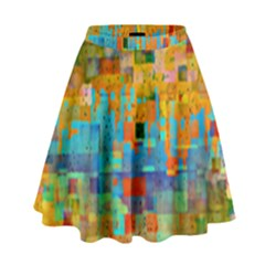 Painted Desert Southwestern Abstract Art High Waist Skirt by CrypticFragmentsDesign