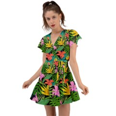 Tropical Adventure Flutter Sleeve Wrap Dress