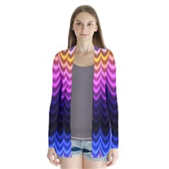 Wave Line Waveform Sound Purple Drape Collar Cardigan