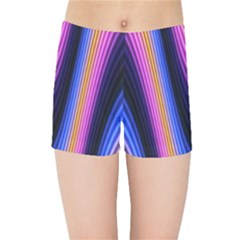 Wave Line Waveform Sound Purple Kids  Sports Shorts by HermanTelo