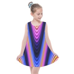 Wave Line Waveform Sound Purple Kids  Summer Dress by HermanTelo