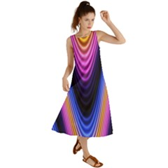 Wave Line Waveform Sound Purple Summer Maxi Dress