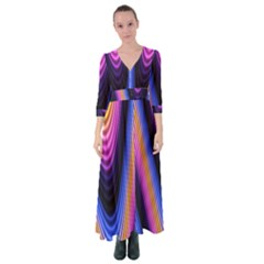 Wave Line Waveform Sound Purple Button Up Maxi Dress
