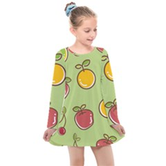 Seamless Healthy Fruit Kids  Long Sleeve Dress
