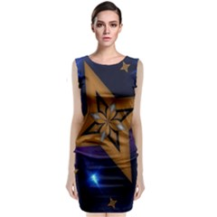 Star Background Sleeveless Velvet Midi Dress