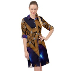 Star Background Long Sleeve Mini Shirt Dress by HermanTelo