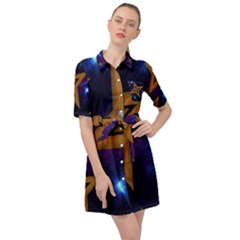 Star Background Belted Shirt Dress by HermanTelo