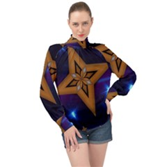 Star Background High Neck Long Sleeve Chiffon Top by HermanTelo