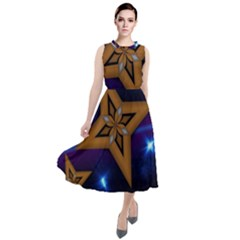 Star Background Round Neck Boho Dress