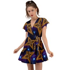 Star Background Flutter Sleeve Wrap Dress
