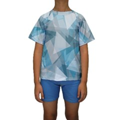 Triangle Blue Pattern Kids  Short Sleeve Swimwear