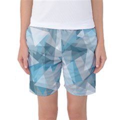 Triangle Blue Pattern Women s Basketball Shorts by HermanTelo