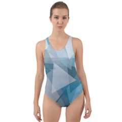 Triangle Blue Pattern Cut Out Back One Piece Swimsuit