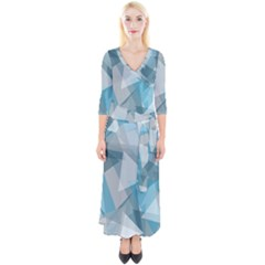 Triangle Blue Pattern Quarter Sleeve Wrap Maxi Dress by HermanTelo