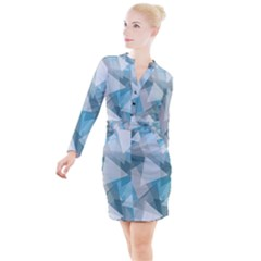 Triangle Blue Pattern Button Long Sleeve Dress