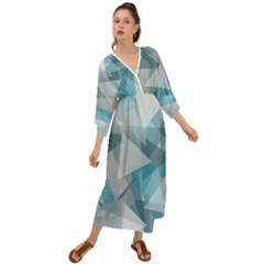 Triangle Blue Pattern Grecian Style  Maxi Dress