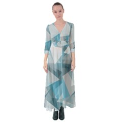 Triangle Blue Pattern Button Up Maxi Dress