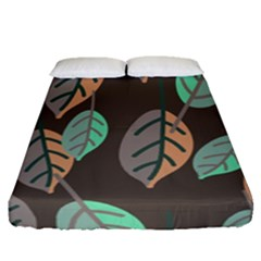 Leaf Brown Fitted Sheet (queen Size) by Jojostore