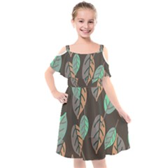 Leaf Brown Kids  Cut Out Shoulders Chiffon Dress