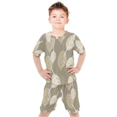 Leaf Grey Kids  Tee And Shorts Set by AnjaniArt