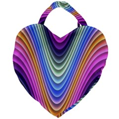 Wave Line Waveform Sound Blue Giant Heart Shaped Tote