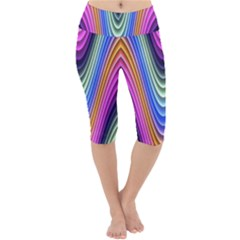 Wave Line Waveform Sound Blue Lightweight Velour Cropped Yoga Leggings by AnjaniArt