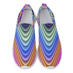 Wave Line Waveform Sound Blue Women s Slip On Sneakers