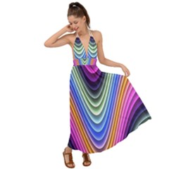 Wave Line Waveform Sound Blue Backless Maxi Beach Dress by AnjaniArt
