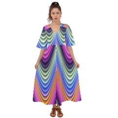 Wave Line Waveform Sound Blue Kimono Sleeve Boho Dress