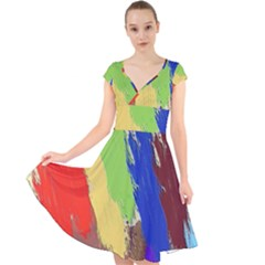 Abstract Painting Cap Sleeve Front Wrap Midi Dress