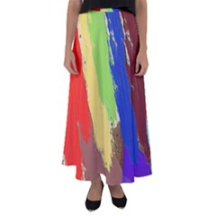 Abstract Painting Flared Maxi Skirt