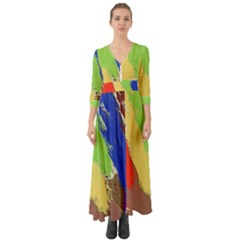 Abstract Painting Button Up Boho Maxi Dress