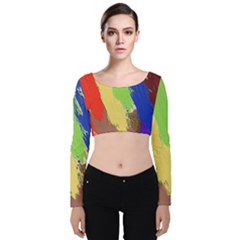 Abstract Painting Velvet Long Sleeve Crop Top by Alisyart